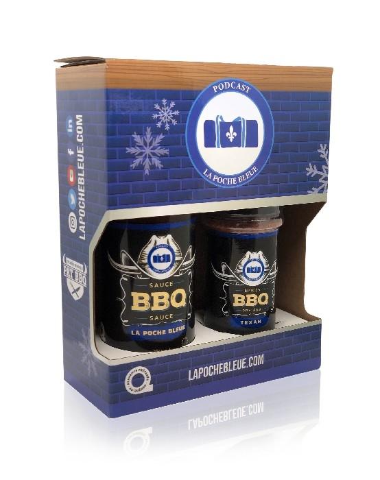 Boîte Cadeau - 1 Sauce La Poche Bleue 350ml et 1 Épices Texan 170g
